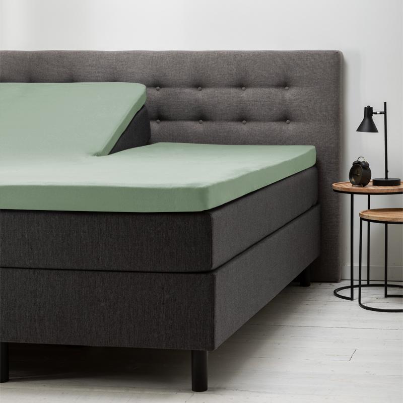 Fresh & Co 2-Pack: Splittopper Hoeslaken Katoen - Groen 200 x 210/220 ccm