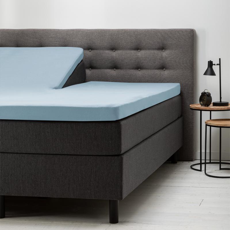 Fresh & Co Verkoelende Splittopper Hoeslaken Katoen - Blauw 180 x 200 cm