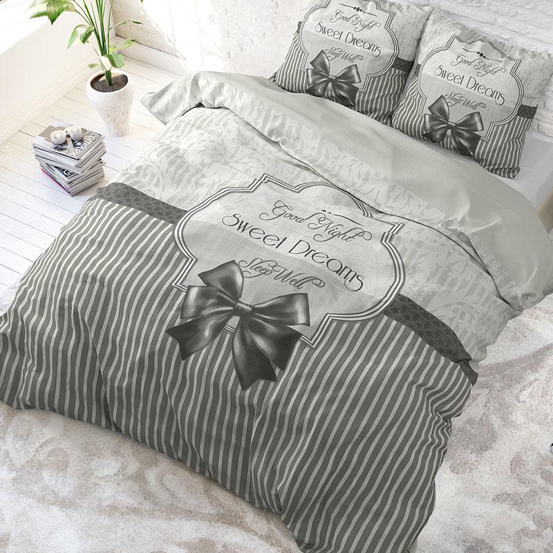 DreamHouse Bedding Sweet Dreams - Antraciet Lits-jumeaux (240 x 220 cm + 2 kussenslopen) Dekbedovert