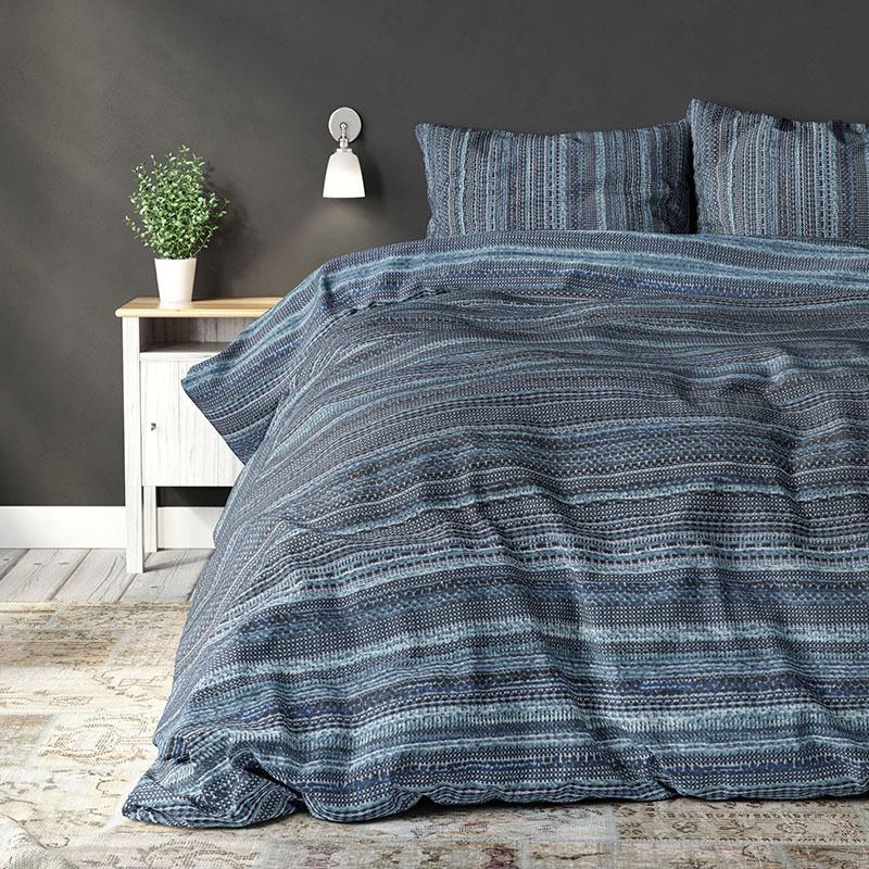 Sleeptime Elegance Marshall Indigo 1-persoons (140 x 200/220 cm + 1 kussensloop)