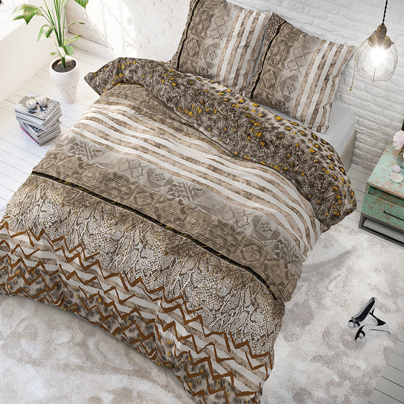 Sleeptime Elegance Panther Feel Taupe 2-persoons (200 x 200/220 cm + 2 kussenslopen)