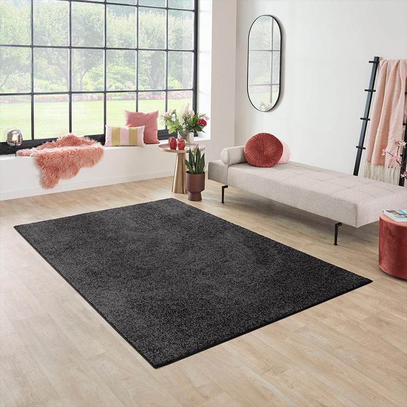 Vloerkleed Santa Fe - Zwart Olive Effen 57 x 150 cm - Ga naar Dekbed-Discounter.nl & Profiteer Nu