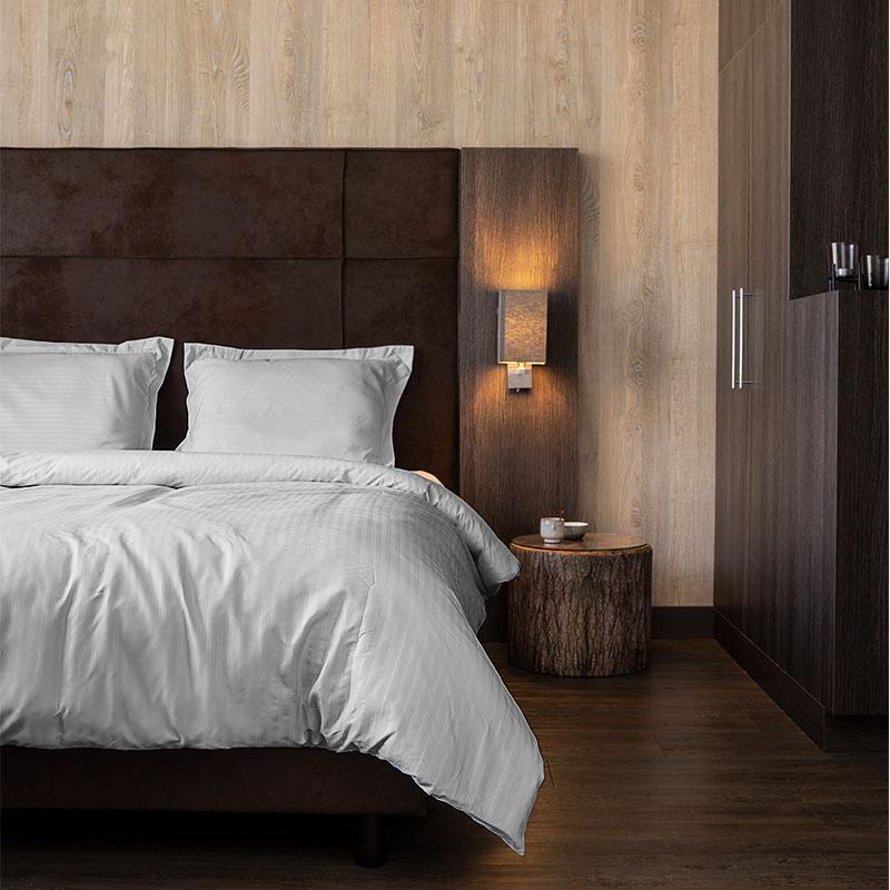 Hotel Home Collection Manchester Zilver 1-persoons (140 x 200-220 cm) Dekbedovertrek