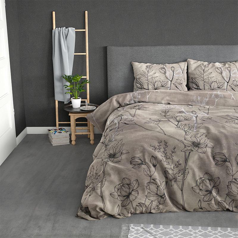 Sleeptime Elegance Cora - Taupe Lits-jumeaux (240 x 220 cm + 2 kussenslopen) Dekbedovertrek