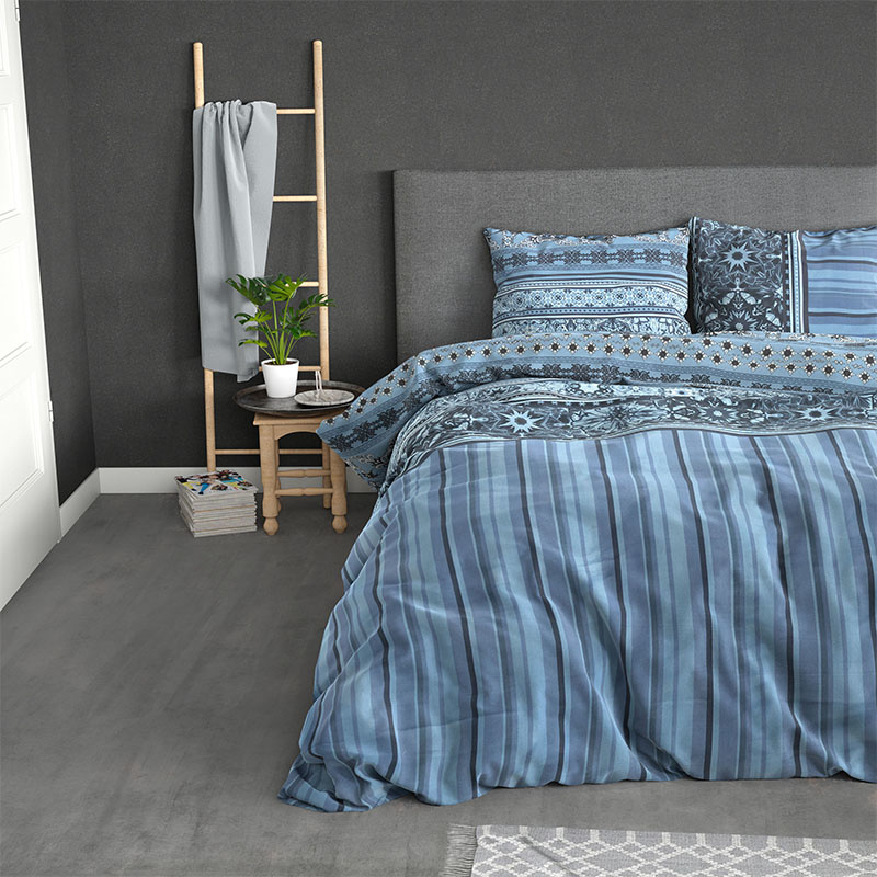 Sleeptime Elegance Mia - Blauw Lits-jumeaux (240 x 220 cm + 2 kussenslopen) Dekbedovertrek