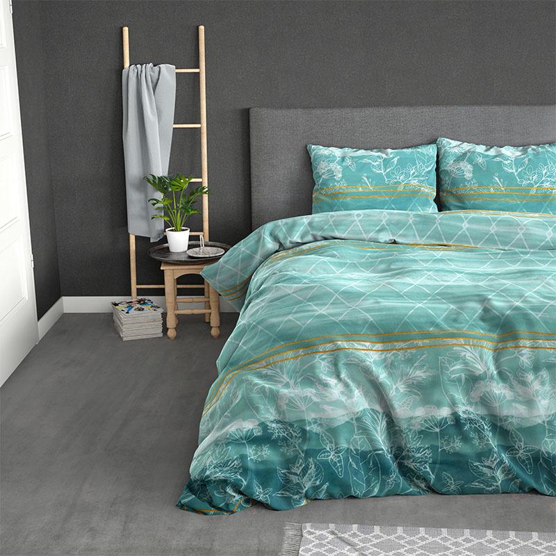 Sleeptime Elegance Zara - Turquoise 2-persoons (200 x 220 cm + 2 kussenslopen) Dekbedovertrek