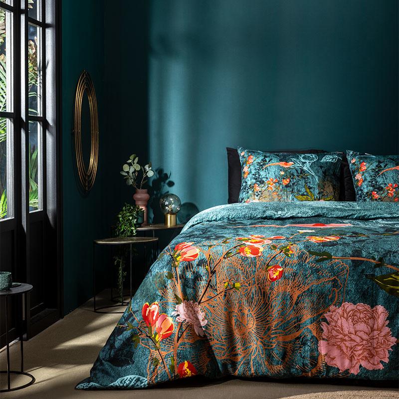 Manilla Satin Nouri Turquoise Lits-jumeaux (240 x 200/220 cm + 2 kussenslopen) Dekbedovertrek