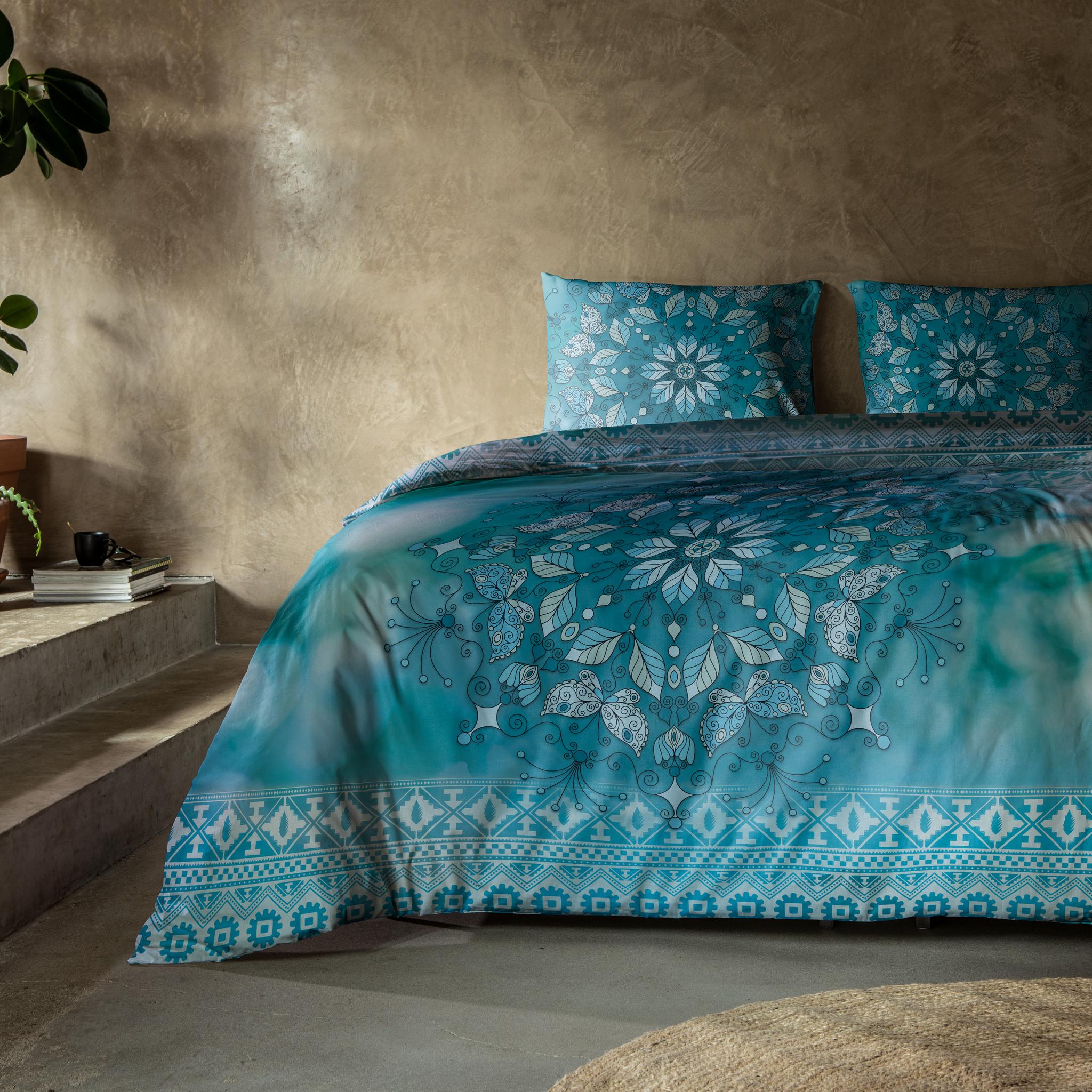 Dekbedovertrek Mandala Blue 1-persoons (140x200/220 cm) - Katoen - Bloemen - Blauw, - Ga naar Dekbed