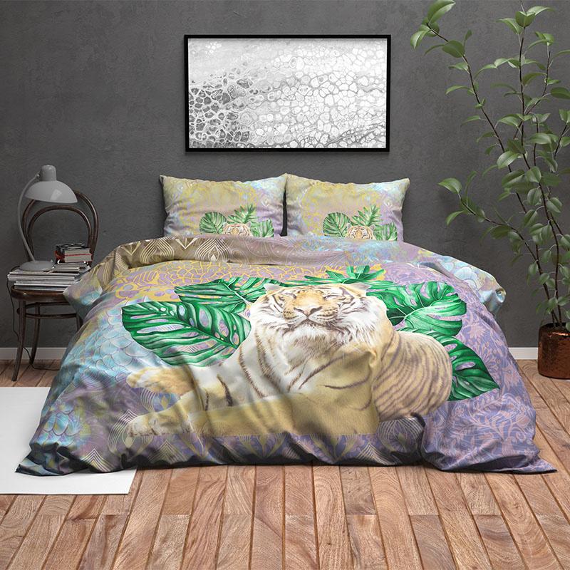 Wild Dekbedovertrek Kenza – Groen 2-persoons (200 x 220 cm + 2 kussenslopen) Dekbedovertrek
