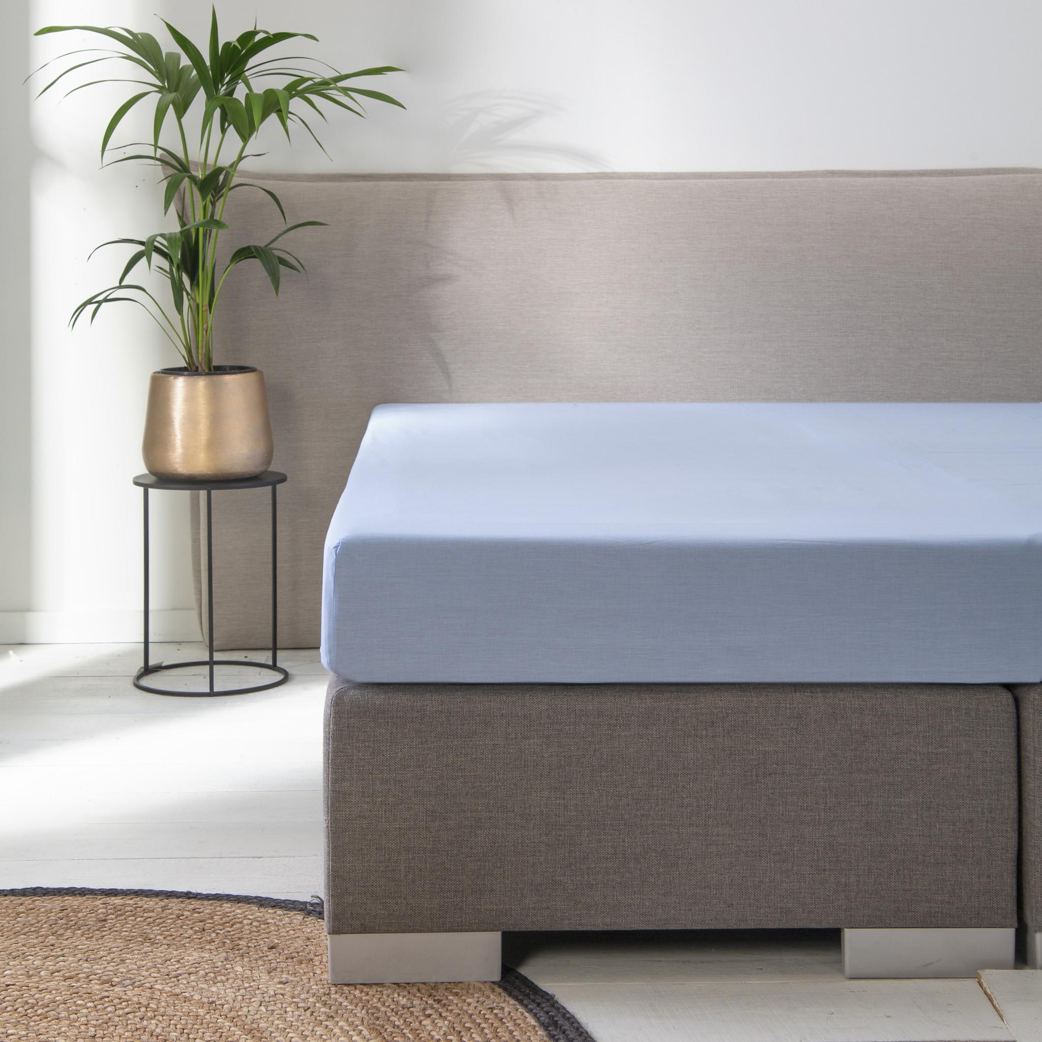 Luna Bedding 2-PACK: Luna Hoeslaken Blended Katoen - Blauw 90 x 200 cm