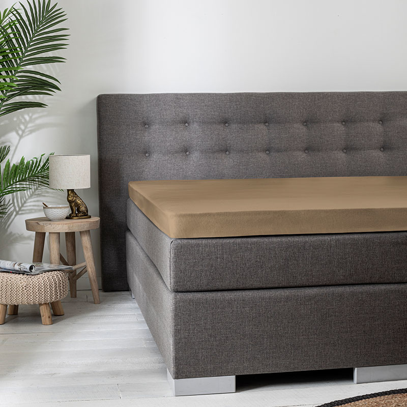 Florance 2-PACK: Jersey Topper Hoeslaken - Taupe 180 x 200 cm