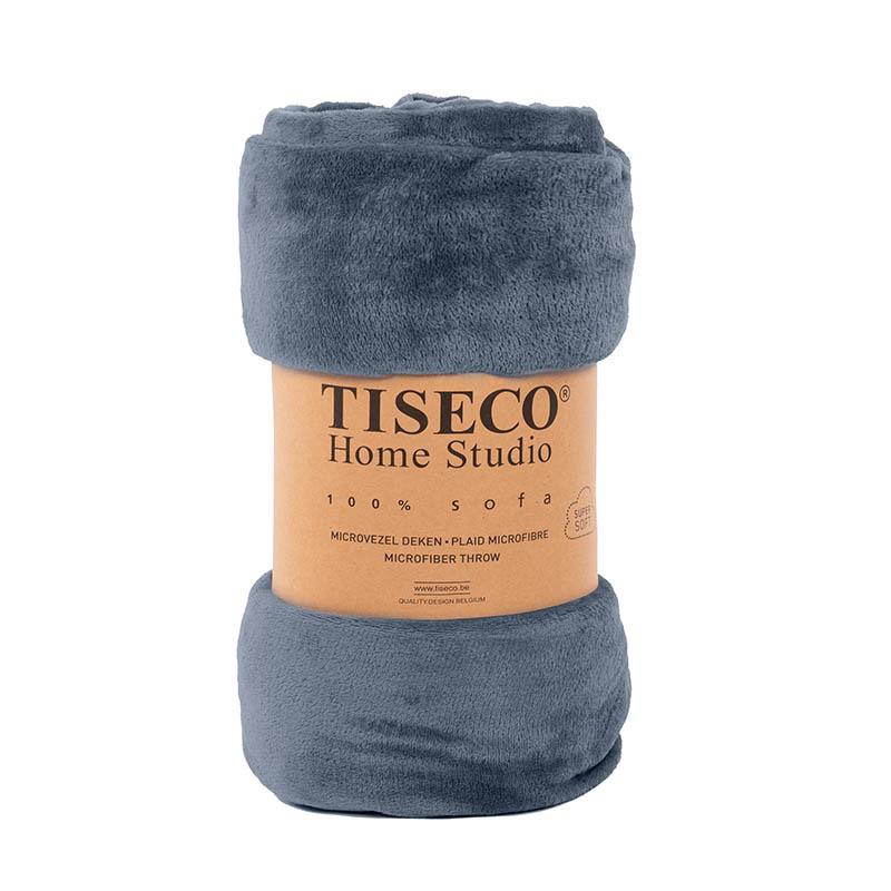 Tiseco Home Studio Cozy Velvet Plaid - Blue Stone 130 x 160