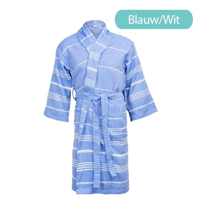 The One Towelling Hamam Badjas Kleur: Blauw/Wit, L/XL