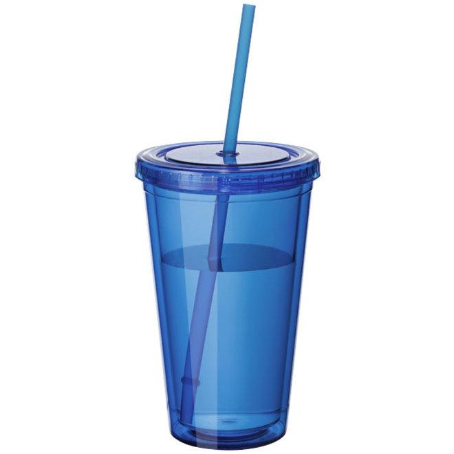 Dubbelwandige drinkbeker incl. Rietje
