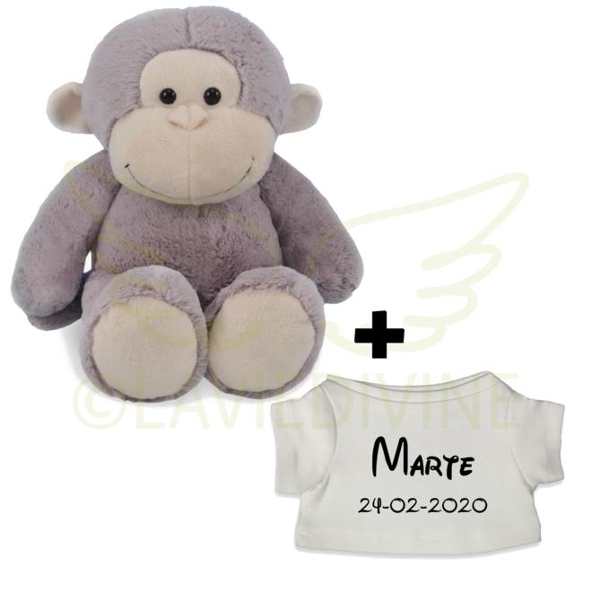 Knuffel aap met gepersonaliseerd t-shirtje