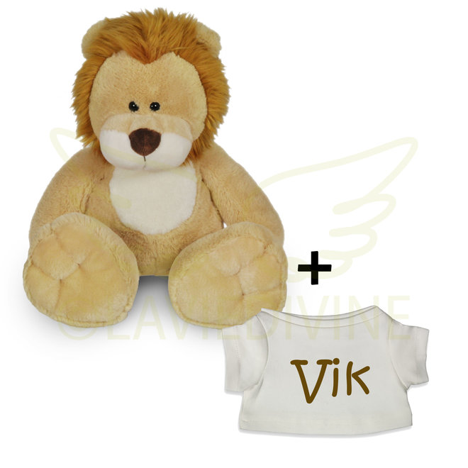 Knuffel leeuw klein met gepersonaliseerd t-shirtje