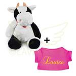 Funnies Knuffel koe klein met gepersonaliseerd t-shirt
