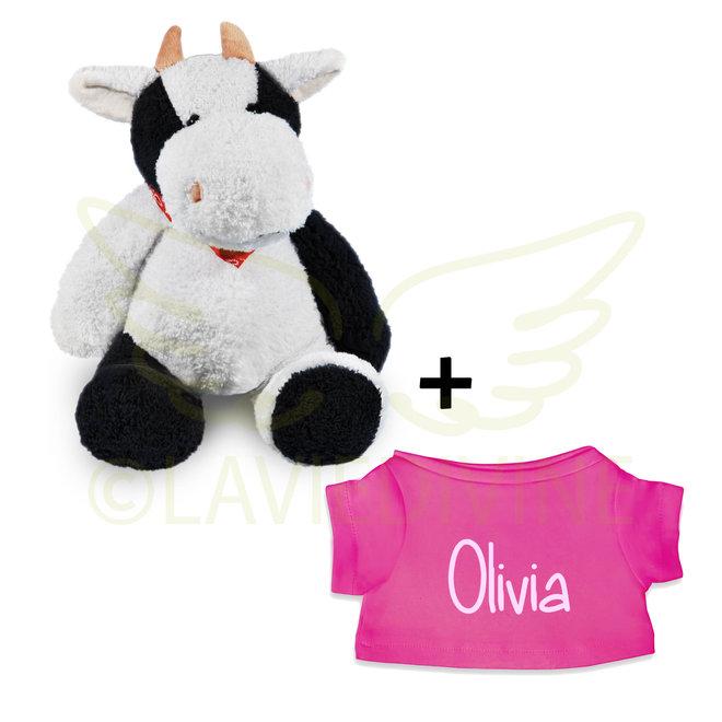 Knuffel koe met gepersonaliseerd t-shirtje