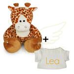 Funnies Knuffel giraf klein met gepersonaliseerd t-shirtje