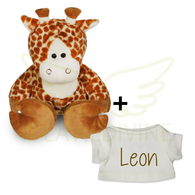 Knuffel giraf met gepersonaliseerd t-shirtje
