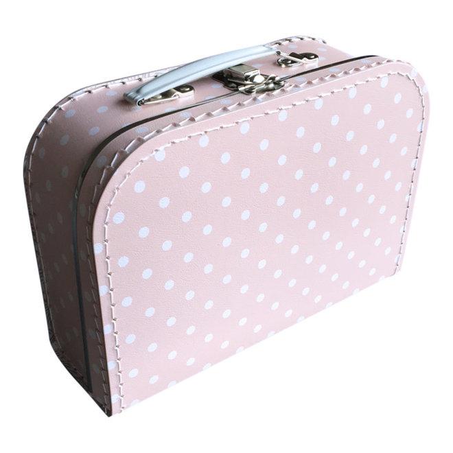 Kinderkoffertje 25cm babyroze met witte stip