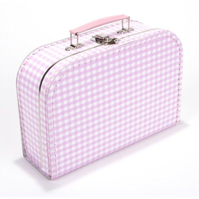 Kinderkoffertje 25cm roze vichy
