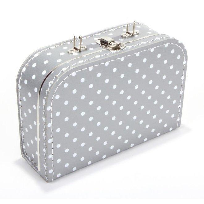 Kinderkoffertje 25cm zilvergrijs met witte stip