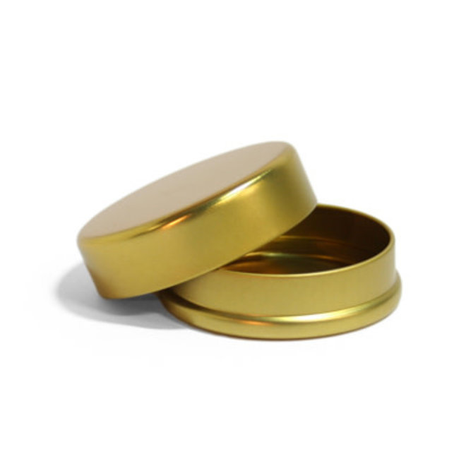 Luxe blik doosje rond dia 70x25mm goud