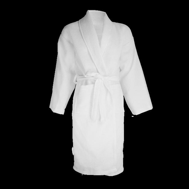 Witte badjas in wafelstof