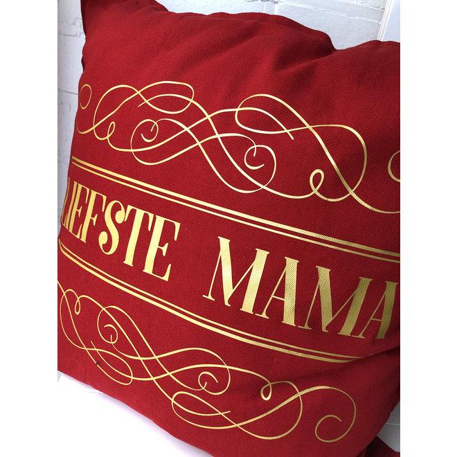 Kussen 'liefste mama' rood