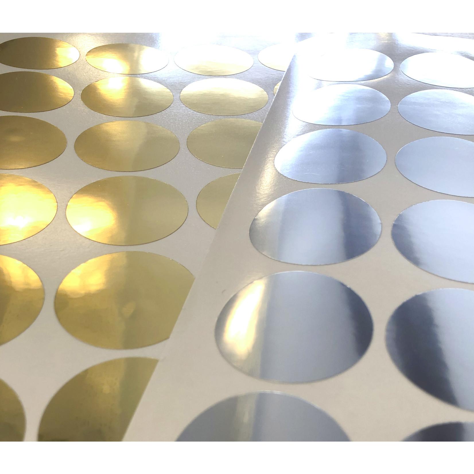Metallic achtergrondsticker rond 52mm - per 50
