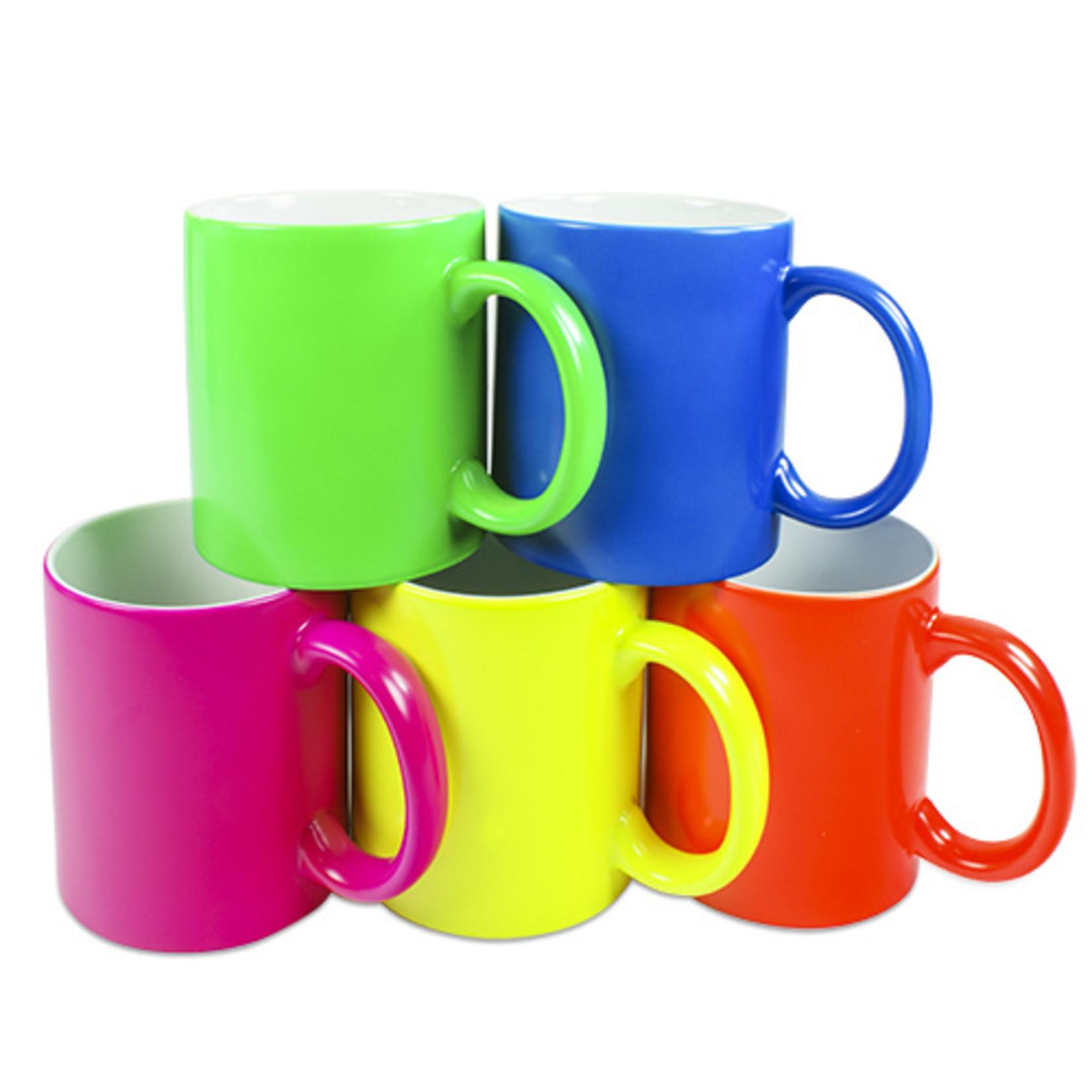 neon koffiemok met print