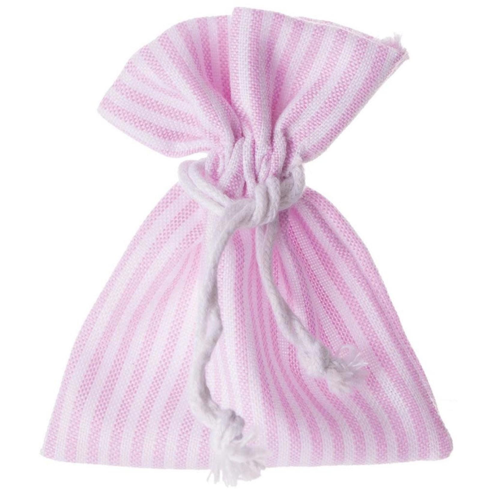 stropzakje roze/wit gestreept