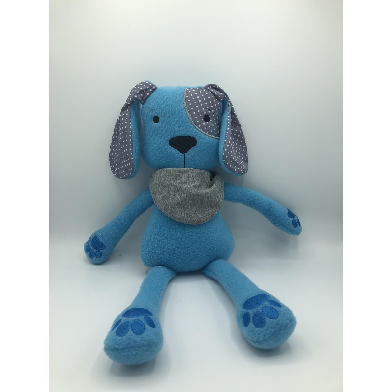 Knuffel hond blauw handgemaakt