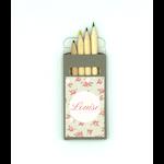 Sticker voor doosje potloodjes 'Louise'