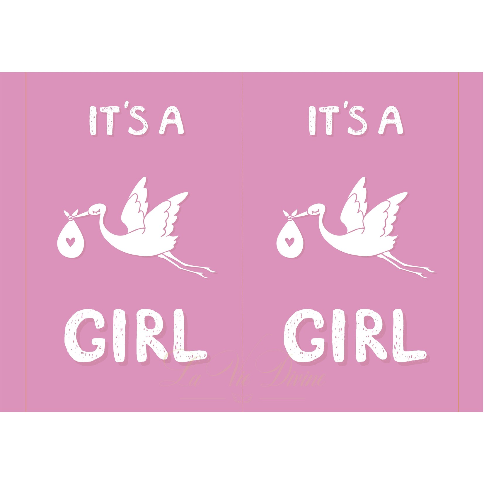 La Vie Divine Geboortebord 'it's a girl' met ooievaar