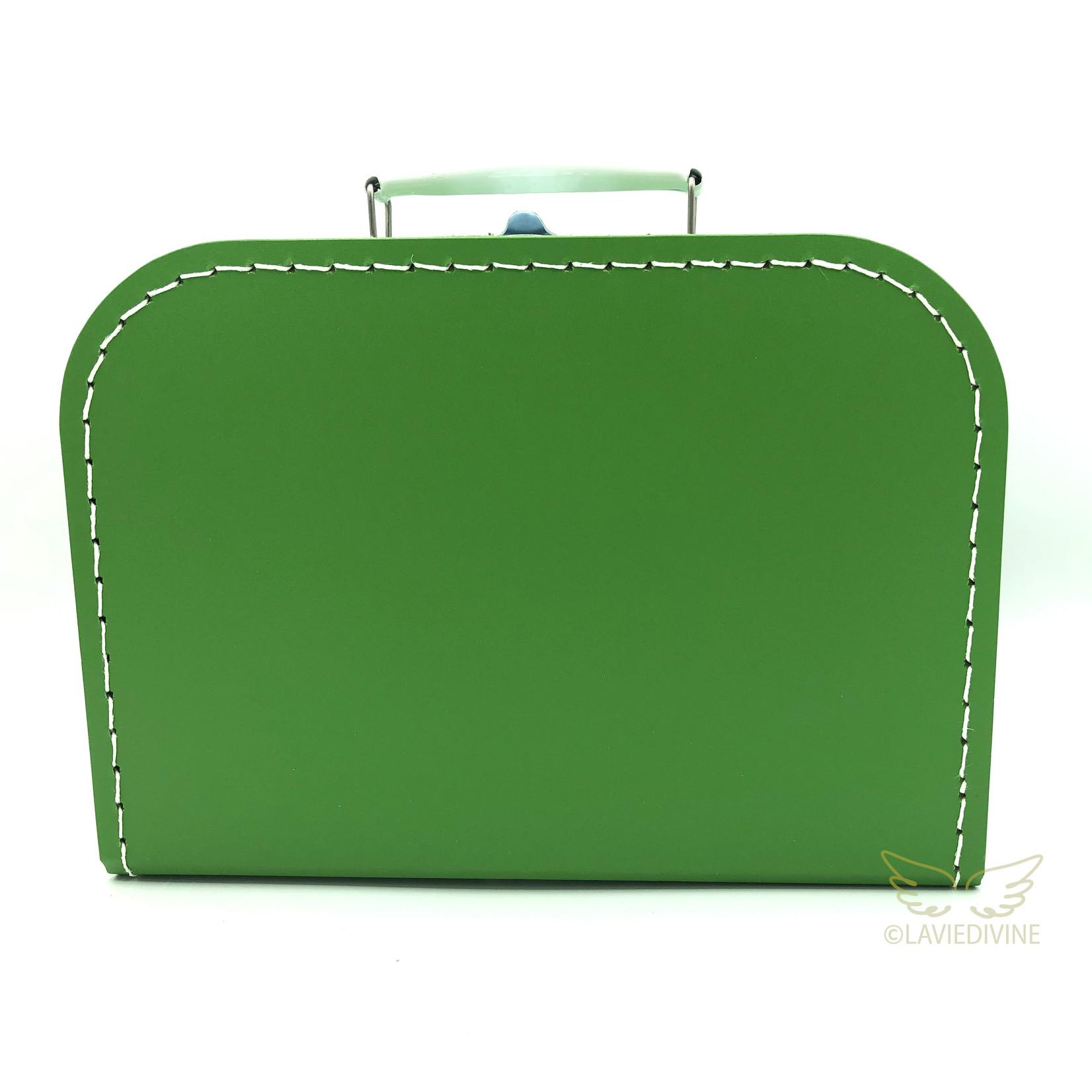 Kinderkoffertje 25cm met naam en/of figuurtje grasgroen