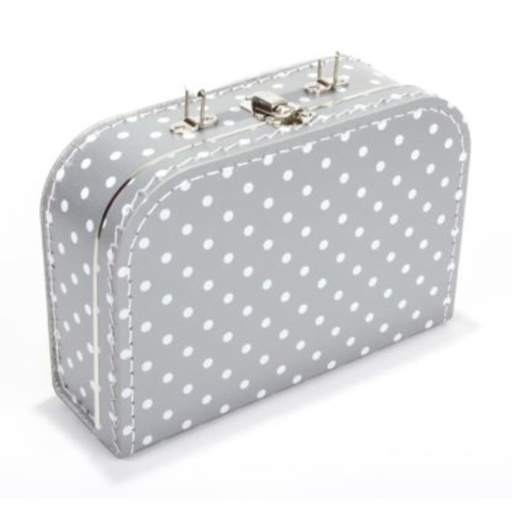 Kinderkoffertje 25cm met naam en/of figuurtje grijs met witte stippen