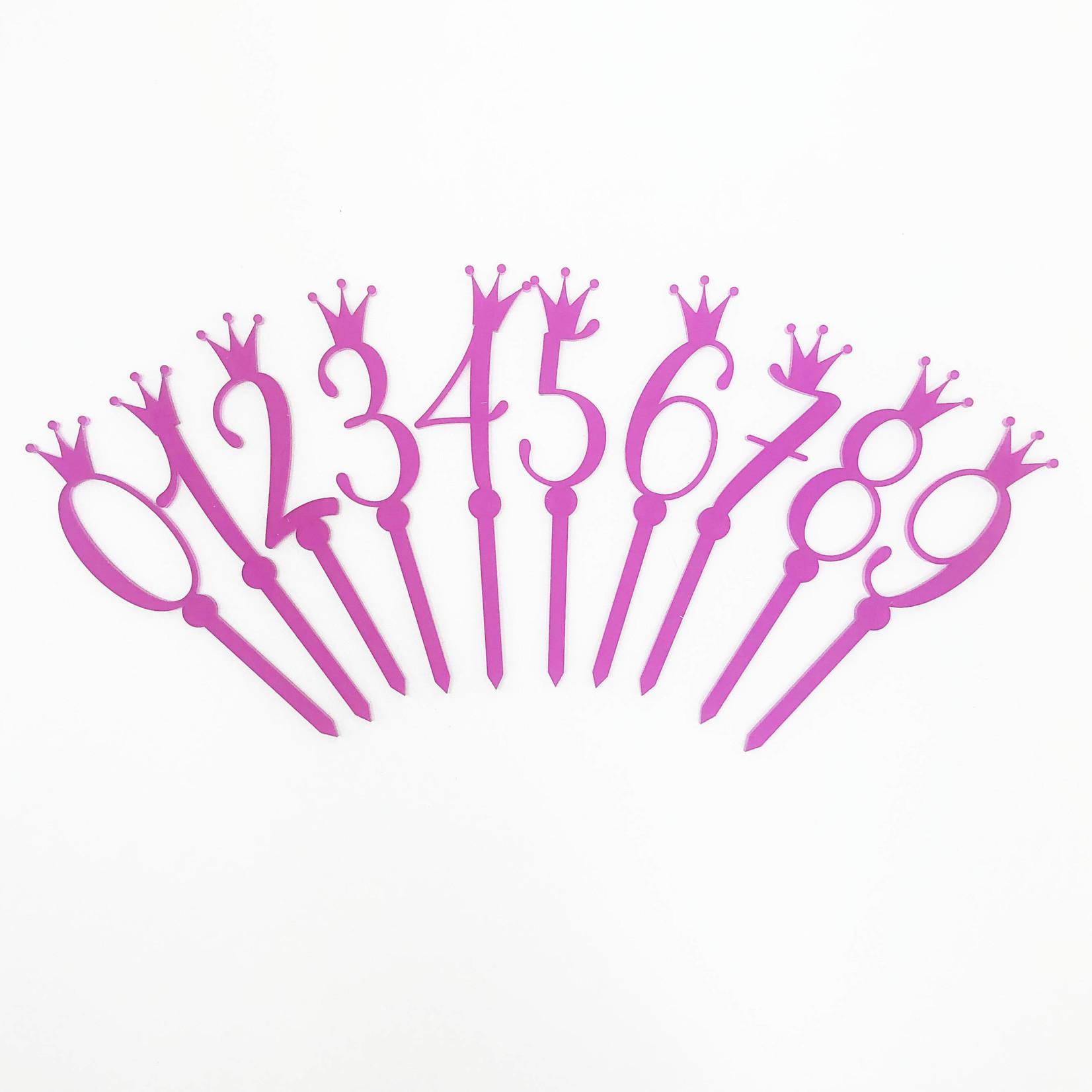 La Vie Divine Taart topper - set verjaardagsnummers met kroon roze