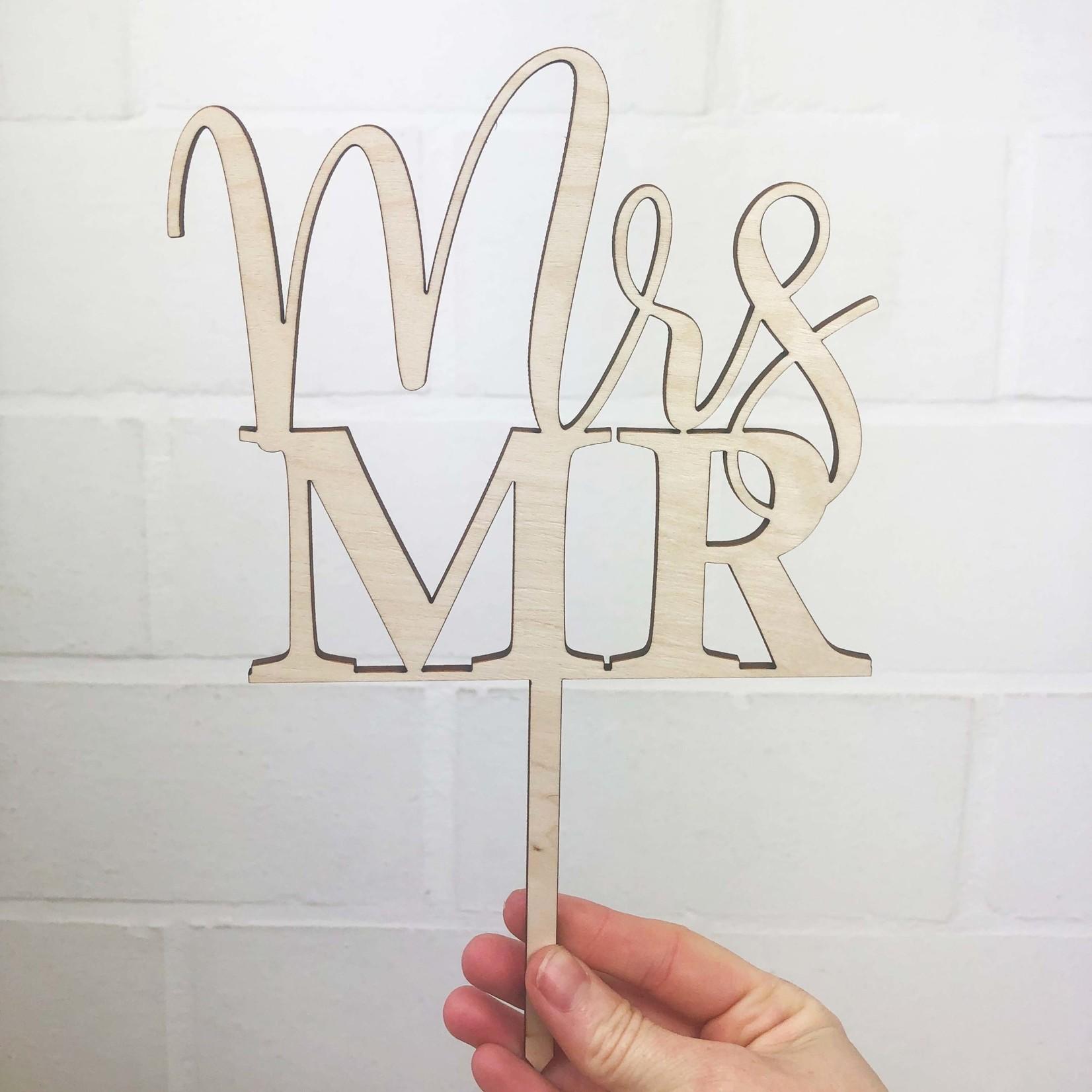 La Vie Divine Taart Topper Mr & Mrs - hout