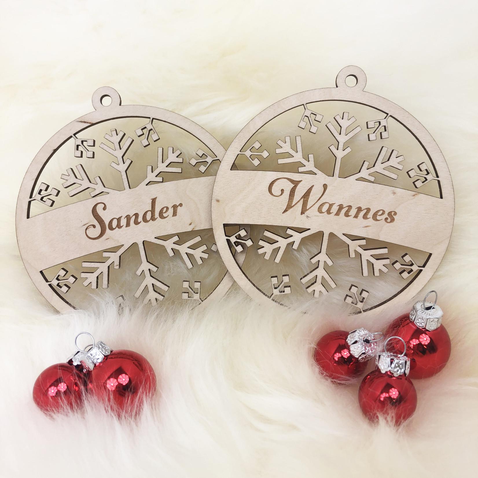 SET van 2 Gegraveerde houten kerstballen