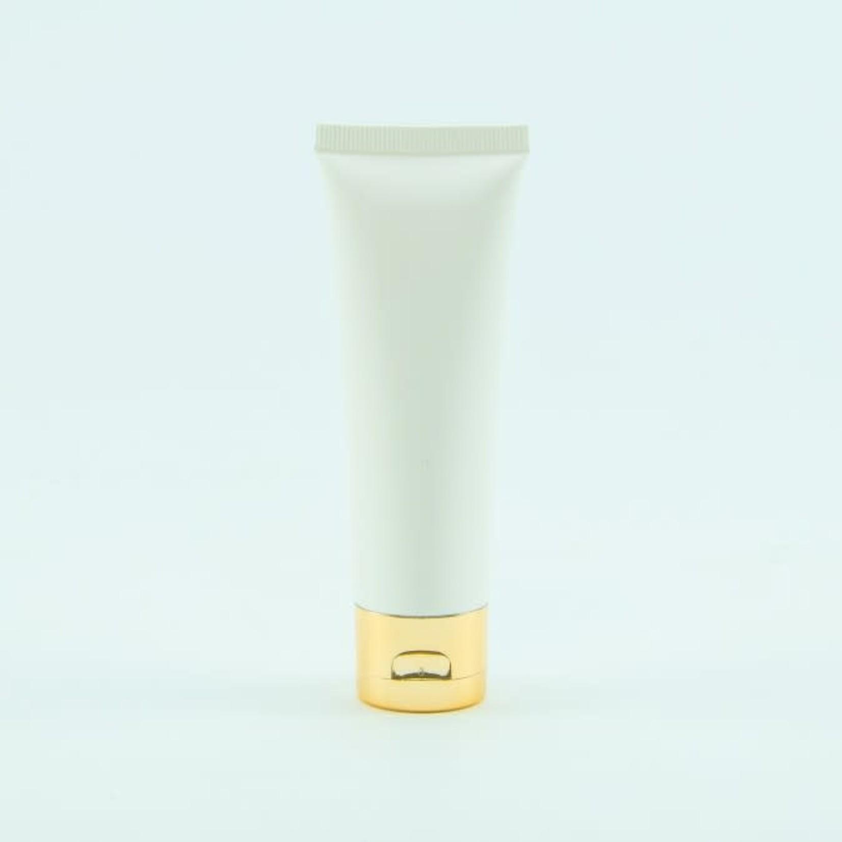 Tube handcrème (50ml) wit met gouden dop