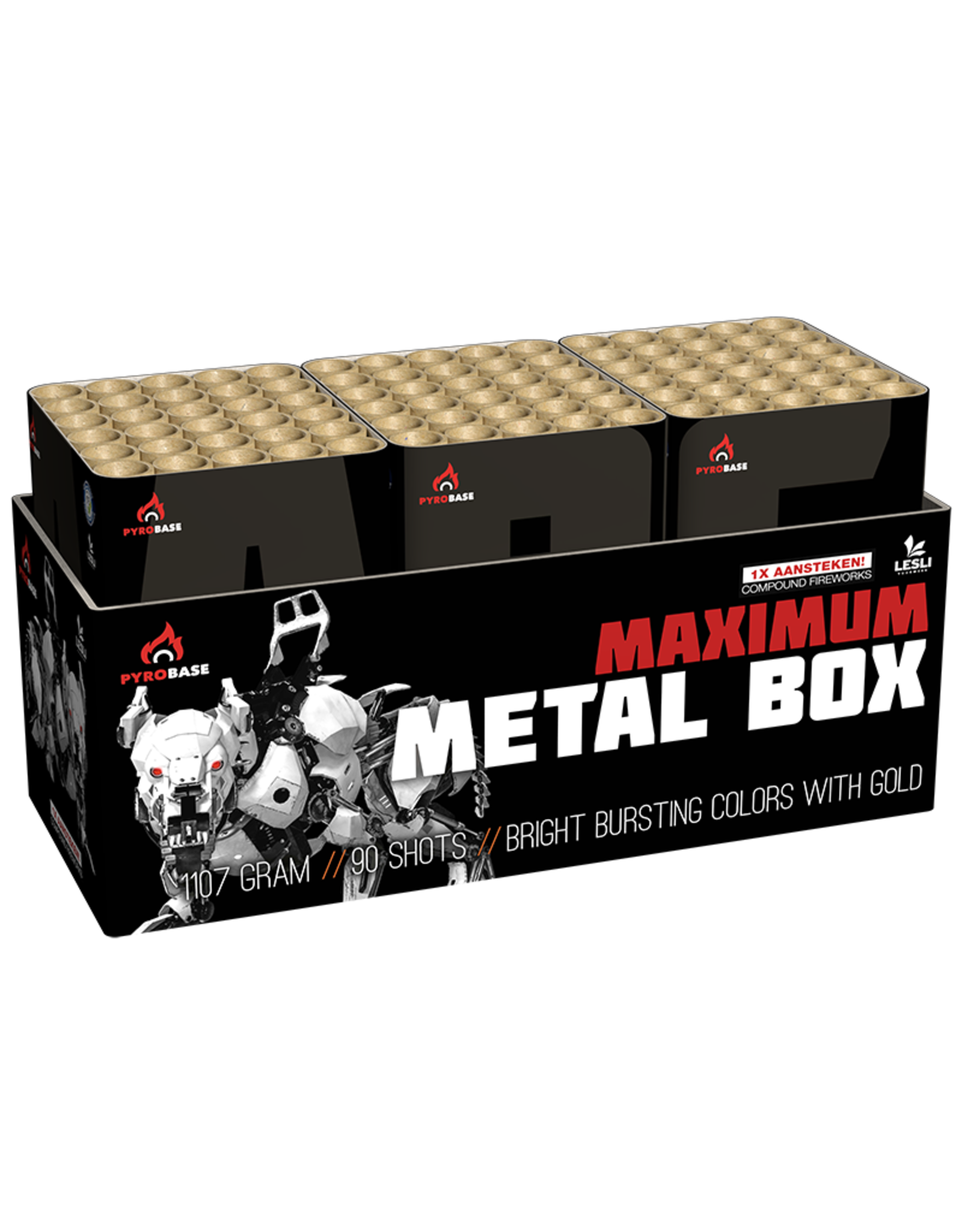 Lesli Vuurwerk Maximum Metal Box 90 shots