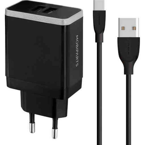 Mobiparts WALL CHARGER DUAL USB 2.4A + USB-C CABLE BLACK