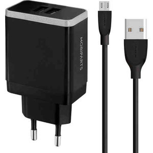 Mobiparts WALL CHARGER DUAL USB 2.4A + MICRO USB CABLE BLACK