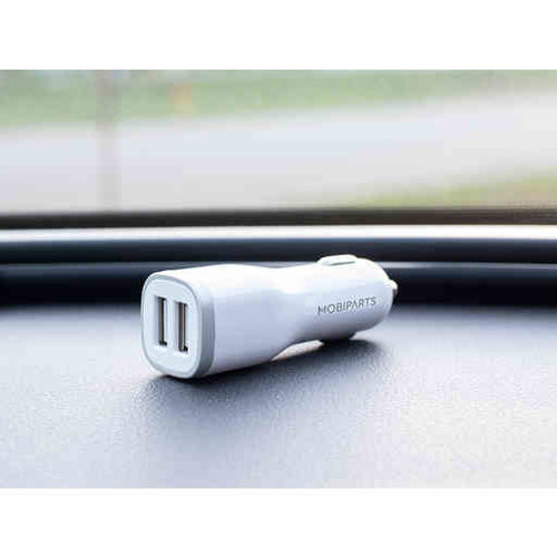 Mobiparts CAR CHARGER DUAL USB 2.4A + LIGHTNING CABLE WHITE