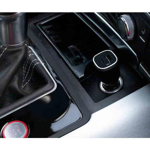 Mobiparts CAR CHARGER DUAL USB-A EN USB-C 2.4A BLACK