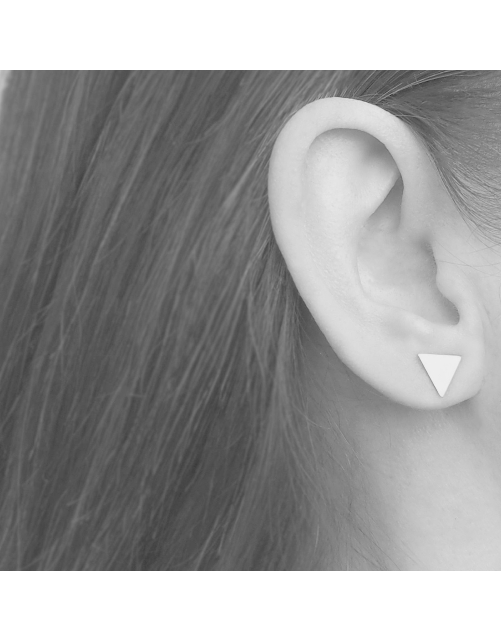 Brass Disc and Triangle Stud Earrings