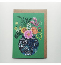 Blue Vase with Flowers Greeting Card