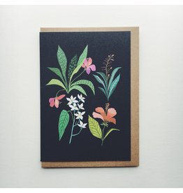 Tropical Leaves and Flowers Greeting Card